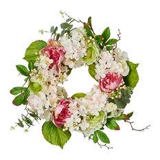 """Hydrangea Peony Wreath, 22"""""""