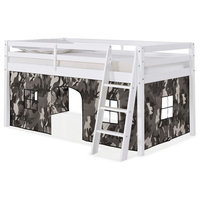 Roxy Junior Loft White Twin Bed, Gray and White Camouflage Playhouse Tent