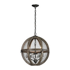 Renaissance Invention 3 Light Chandelier in Aged Wood And Bronze