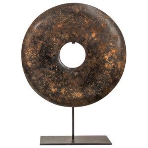 Dark Brown Soapstone Bi-Disc Ornament, 12 Cm