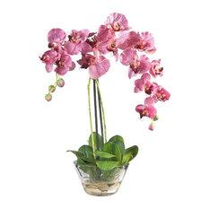Phalaenopsis With Glass Vase Silk Flower Arrangement, Pink