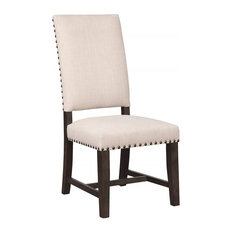 Upholstered Parson Chair With Nailhead Trim, Set of 2
