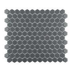 SomerTile Metro Hex Matte Porcelain Mosaic Floor and Wall Tile, Grey