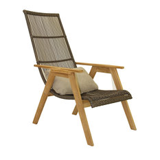 Teak and Wicker Basket Lounger Chair, Set of 2