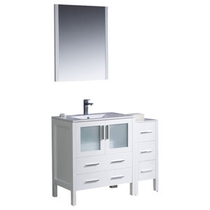 "Torino 42"" White Vanity, Side Cabinet and Integrated Sink Fortore Chrome Faucet"