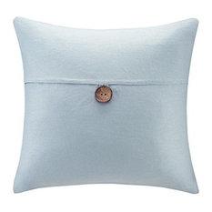 Madison Park Linen Button Square Pillow Linen 1 Button Square Pillow in Aqua