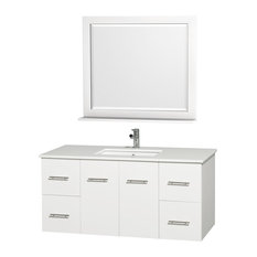"Centra 48"" Vanity, Square Porcelain Undermount Sink, Matte White, White Stone"