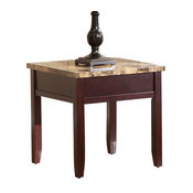 Homelegance Orton Faux Marble Top End Table, Rich Cherry