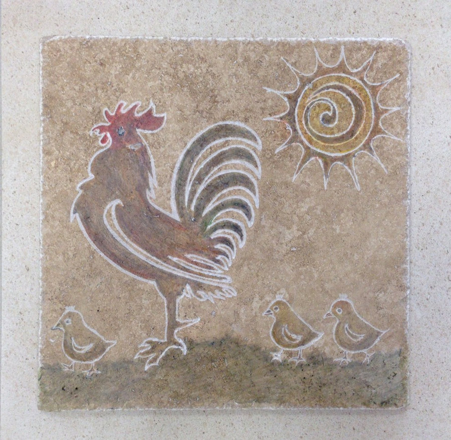 Kitchen Tile-Rooster & His Chicks