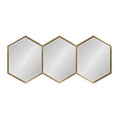 Royce Horizontal Hexagon Mirror, Gold 14x30