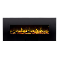 """60"""" Ventless Heater, Electric, Wall Mounted Fireplace, Black"""