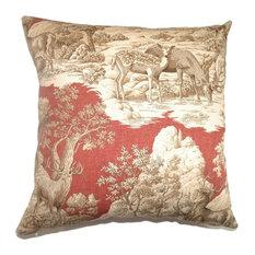 "Feramin Toile Pillow, Redwood Back, 18""x18"""