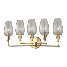 Longmont, 5 Light, Wall Sconce, Aged Brass Finish, Clear Gold Mesh Glass