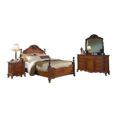 HEFX Furniture - 5-Piece Magnes Cottage Queen Bed, Dresser, Mirror, 2 Nightstand Cherry - Bedroom Furniture Sets