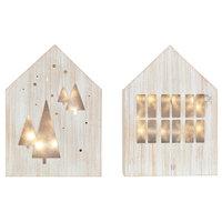 "Juniper Led Light Box, Set Of 2, Wood House, 5.5""x8"", Holiday Decor"