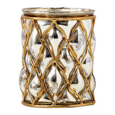Gold and Silver Mercury Glass Finish Vase, Ideal for Weddings and Parties, Large