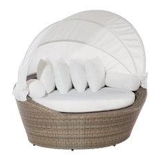 Sylt Rattan Garden Sofa With Cushions, Light Brown