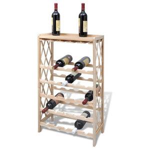 VidaXL Wood Wine Rack Shelf Storage for 25-Bottle