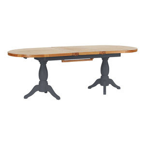 Natural Wood Twin Pedestal Extendable Dining Table, Dark Grey