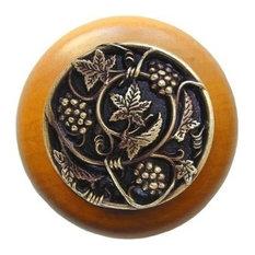 Grapevines Wood Knob, Antique Brass, Maple Wood Finish, Antique Brass