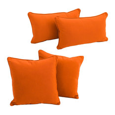 Solid Twill Throw Pillows with Inserts, Set of 4, Tangerine Dream