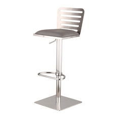 Delmar Adjustable Brushed Stainless Steel PU Bar Stool, Gray