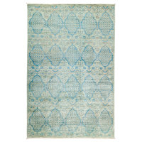 """Suzani Hand Knotted Area Rug, Turquoise, 5'2""""x7'10"""""""