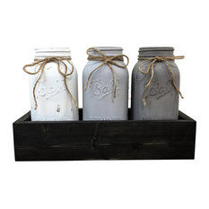Gray and White Half Gallon Mason Jars in Box Centerpiece, 4 Piece Set