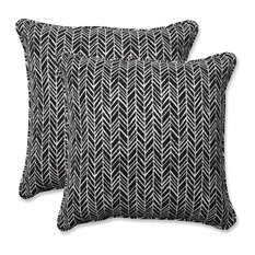 "Out/Indoor Herringbone 18.5"" Throw Pillow, Set of 2, Night"