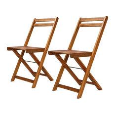 vidaXL 2x Solid Wood Bistro Chair Foldable Patio Outdoor Garden Seat Dining