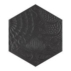 "SomerTile 8.63""x9.88"" Gaudi Hex Porcelain Floor and Wall Tile, Case of 25, Black"