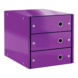 Contemporary Stylish Drawer Cabinet, Steel Metal, 3 Storage Drawers, Purple