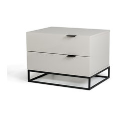 16-inch Gray MDF And Metal Nightstand