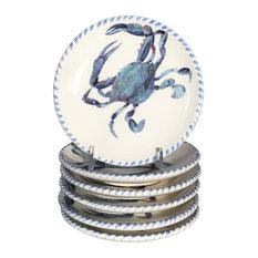 Abbiamo Tutto Blue Crab Dinner Plates, Set of 6