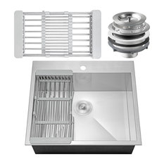"""AKDY 25""""x22""""x9"""" Stainless Steel Top Mount Kitchen Sink Single Basin With Tray"""