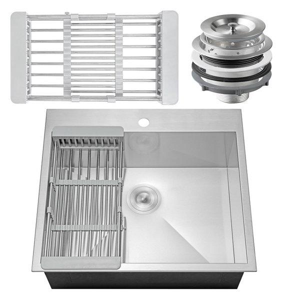 Kitchen Sink 25 X 22 Akdy 25x22x9 stainless steel top mount kitchen sink single basin akdy 25x22x9 stainless steel top mount kitchen sink single workwithnaturefo