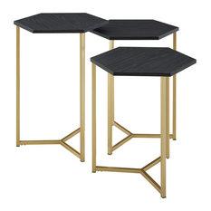 Hex Nesting Tables, 3-Piece set, Graphite/Gold