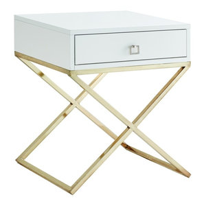 Katie Square Lacquer-Finish X-Metal Leg Nightstand, White Gold