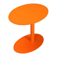 Metal Outdoor Side Table With Oval Top and Base, Orange