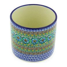 "Polish Pottery 5"" Stoneware Utensil Jar Hand-Decorated Design"