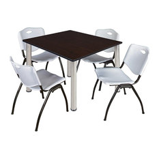 Kee 48-inch Square Breakroom Table Mocha Walnut/Chrome And 4 'M' Stack Chairs Gray