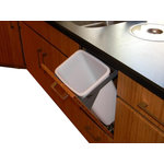 """Dropout Cabinet Fixtures LLC - Waste System - This compact and convenient 24-qt waste system only extends 11"""" into the room when opened and soft closes with a touch of your fingertips. This system is ideal for food prep areas or small cabinet spaces."""