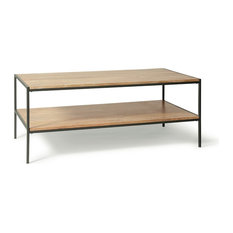 Logan Industrial Wood Coffee Table With Natural Finish