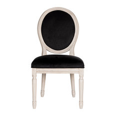 Holloway French Brasserie Oval Side Chairs, Set of 2, Black Velvet, Rustic Gray