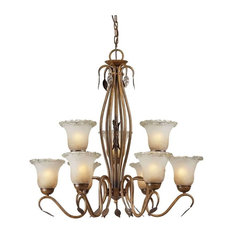 Forte Lighting 3+6 Light Chandelier in Rustic Sienna
