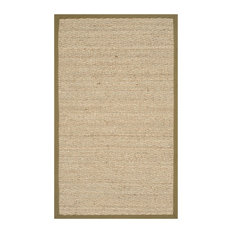 Winifred Natural Fibre Area Rug With Olive Border, 90x150 cm