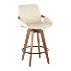 LumiSource   Cosmo Counter Stool, Walnut And Cream Faux Leather   Bar Stools  And Counter