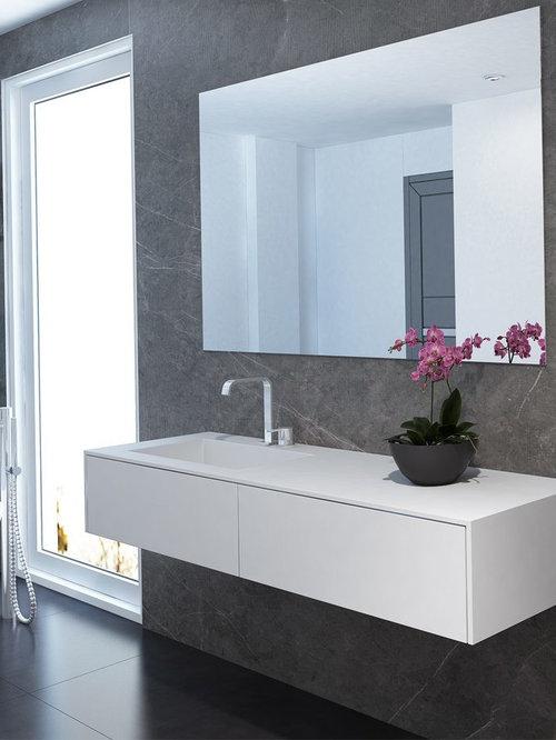 Corian® Waschtische mit Unterschrank - Weiß