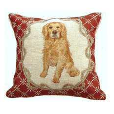 Golden Retriever in Ribbon Frame Petit Point Pillow