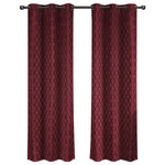 """Royal Tradition - Willow Thermal Blackout Curtains With Grommets, Set of 2, Burgundy, 84""""x96"""" - Add splendor and classiness to any room with these dazzling jacquard panels. The stylish geometric pattern of these floor-length curtains conveys a refined and classic look to your home. Containing a pole pocket design, these jacquard curtains are well-suited with traditional curtain rods, allowing you to change your room easily. This trendy and functional curtain panel pair is thermal-insulated, blocks out the glaring sunlight during the hot summer months, and keeps cold drafts adrift. Block unwanted light and protect your room against outside temperatures with these thermal blackout curtains. These energy saving curtains are both beautiful and practical. The simple, attractive styling complements any decor, and the grommet top offers easy installation. Slip a decorative rod through the grommets to quickly create a classic gathered look. The curtains are machine washable for easy care."""